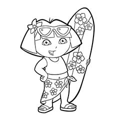 dora during summer - Surfboard Coloring Pages Print