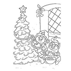 Elves Decorating The Christmas Tree Coloring Sheet