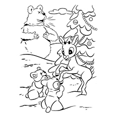 Reindeer Coloring Page Enjoying The Snow