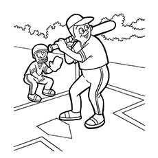Coloring Page of Father And Son Playing Baseball