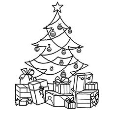 christmas tree filled with gifts around on special day coloring page - Christmas Tree Coloring Sheets