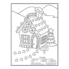 Gingerbread House In The Pasture Coloring Page