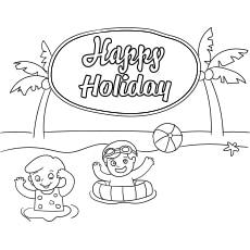 Happy Holidays Summer Season Coloring Page