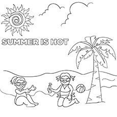 Printable Summer Coloring page of Kids Playing with Ball