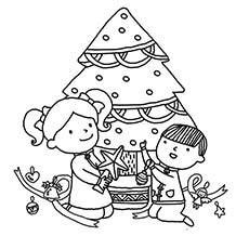 kids decorating christmas tree with lights and items coloring page - Christmas Tree Coloring Sheets