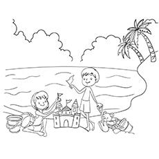 Summer Coloring Worksheet of Kids Enjoying in Beach