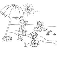 Kids Playing At Beach During Sunny Season Coloring Page