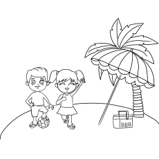 Coloring Page of Kids Playing At Beach In Summer Season