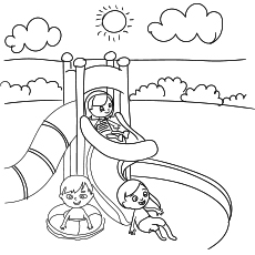 Kids Plays at water Park in Summer Image for Coloring