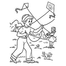 Kite Flying in Summer Season Coloring Page to Print