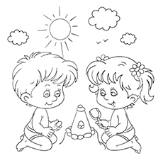Little Boy And Girl Playing At Beach Pic to Color