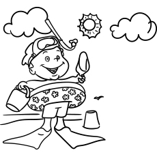 Coloring Page of Little Boy Swimming Circle in Summer