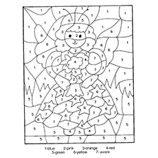 color the picture of little fairy wit numbers - Printable Color By Number