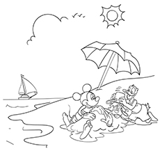 Mickey Mouse and Donald Duck Enjoying Summer Coloring Page Free