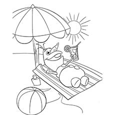 picture of summer season olaf enjoying the sun - Summer Coloring Page