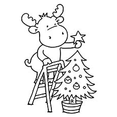 reindeer decorating christmas tree coloring picture