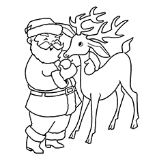 Reindeer Coloring Page Reindeers In Flight. Rudolph With Santa