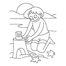 Kids Building Sand Castle During Summer Coloring Page free