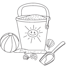 Sand Pail Coloring Sheet of Summer