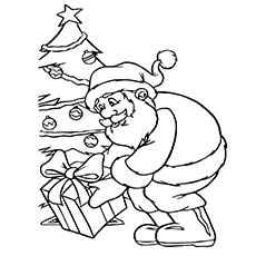 santa putting presents near christmas tree image to color
