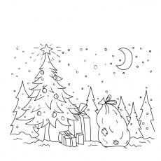 Santa in a sleigh with reindeer