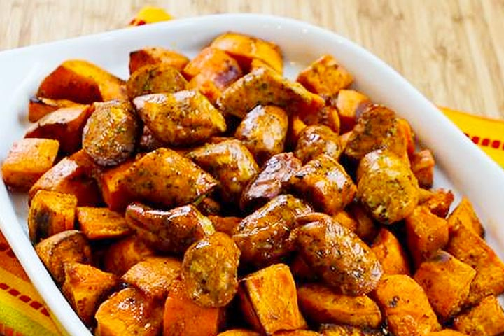 Sausages With Roasted Sweet Potatoes