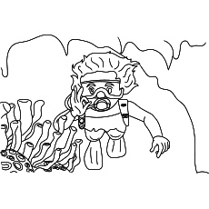 Coloring Page of Summer Scuba Diving