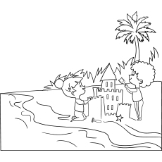 Summer Beach And Kids Playing Coloring Printable Sheet