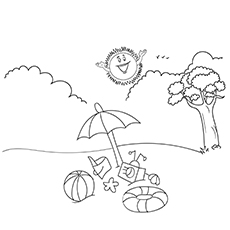 Sun Having Fun in Summer Vacation Coloring Page