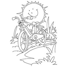 Sun And Bicycle For Kids to Enjoy in Summer to Color