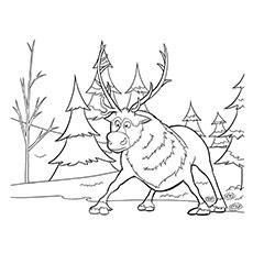 reindeer coloring page sven