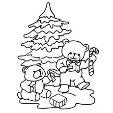 Teddy Decorating Christmas Tree Realistic Coloring Page