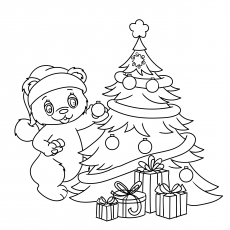 Teddy Decorating the Tree