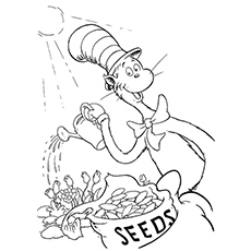 Cat Planting Seed Coloring Page
