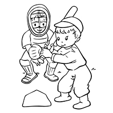 coloring page of two kids playing baseball - Baseball Coloring Pages For Kids