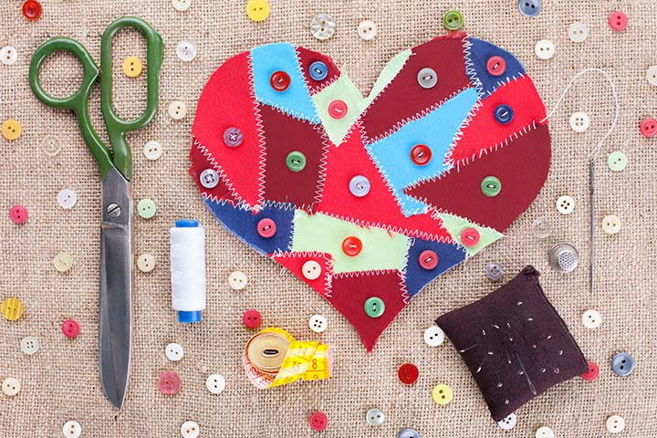 Valenine's Day Sew On Heart And Buttons