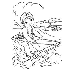 Coloring Sheet of Water Skier During Picnic time in Summer