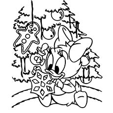 Picture of Webby Decorating Christmas Tree to Color