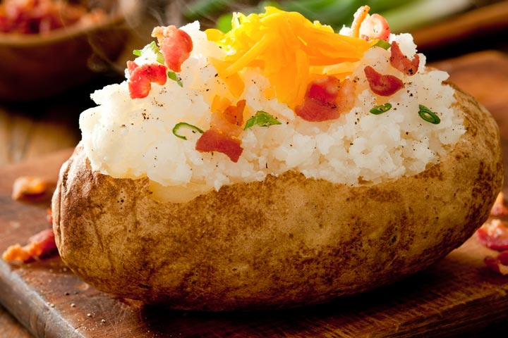 Baked Sweet Potato With Beans And Cheese
