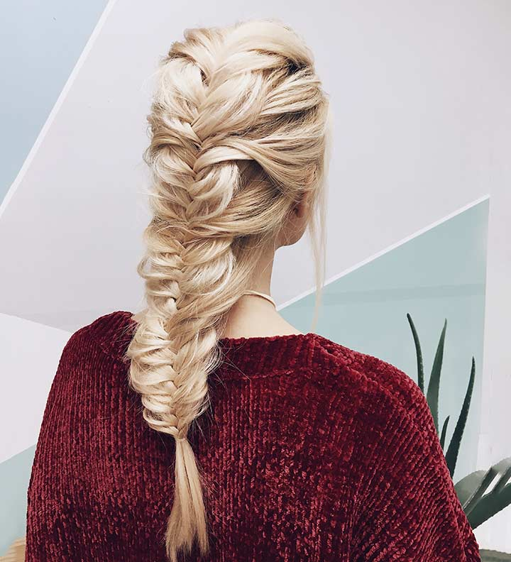 Boho chic faux braid for long hairstyle