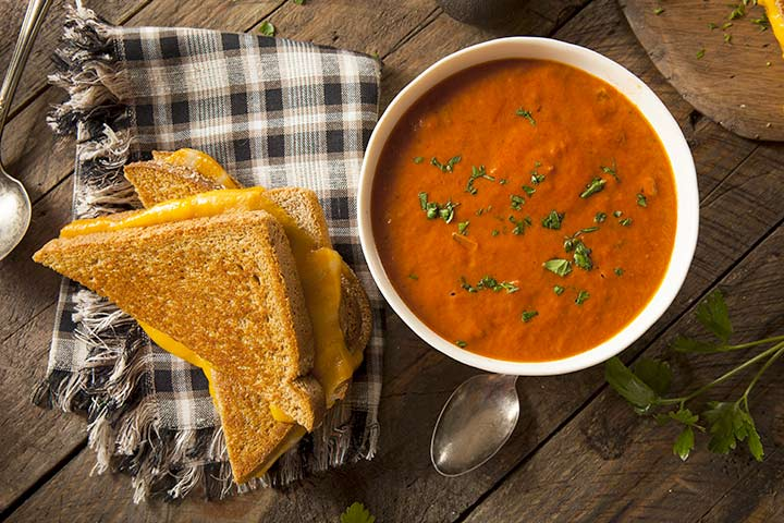 Creamy tomato basil soup with grilled cheese bites