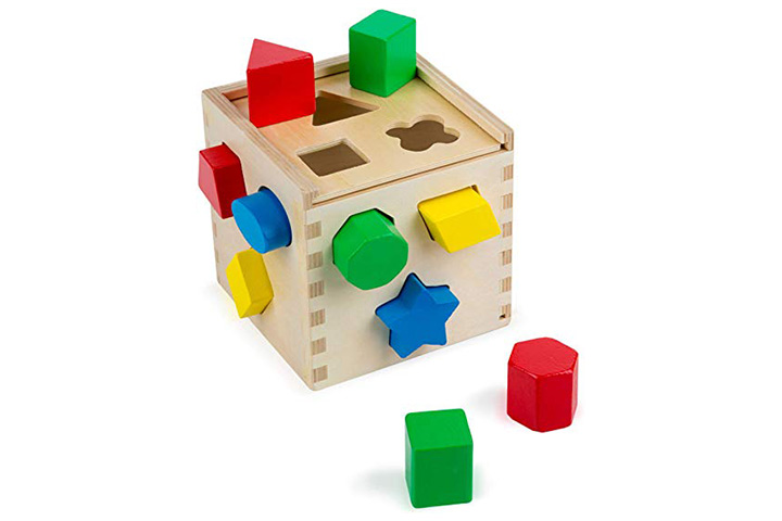 Melissa & Doug Shape Sorting Cube Classic Wooden Kids Toy