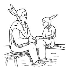 Thanksgiving Coloring Pages Native American Family Pilgrim Kneeling