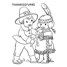 Thanksgiving Coloring Pages Pilgrims And Native Americans