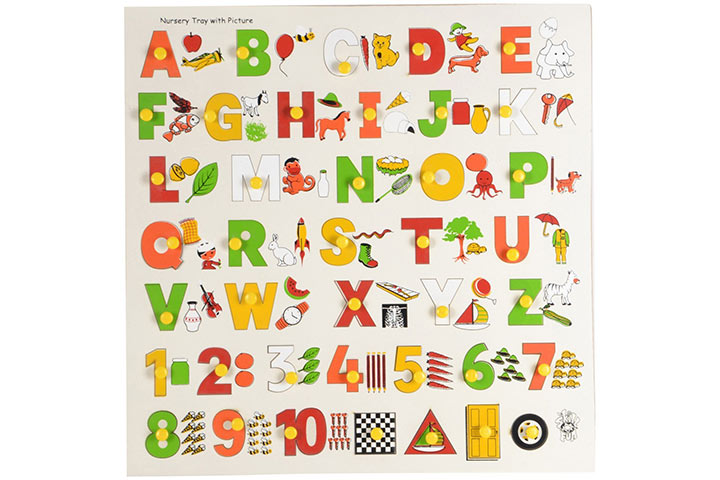 Skillofun Capital Alphabet Tray With Pictures With Knobs