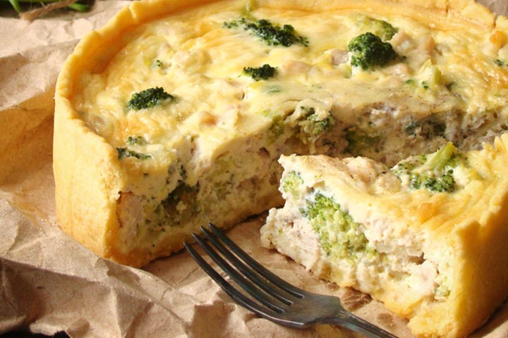 Spinach and chicken quiche
