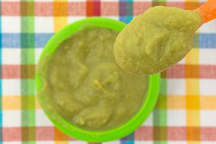 Sweet potato and peas puree