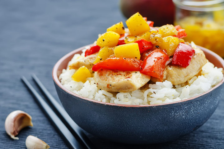 Tango mango chicken with rice