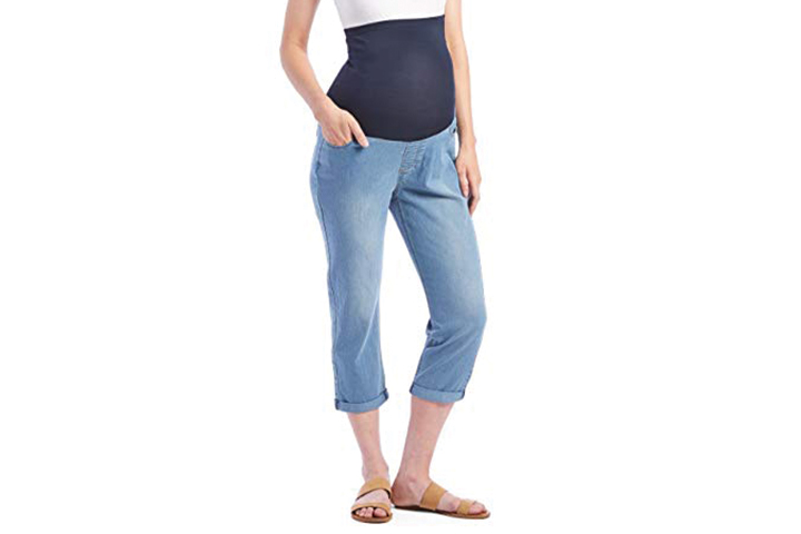 Rumor Has It Maternity Over The Belly Cuffed Capri Crop Straight Jeans