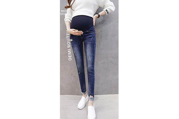 Plaid & Plain Women's Five-Pocket Pregnant Maternity Slim Fit Stretch Skinny Jeans